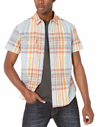 Lucky Brand Men's Short Sleeve Button UP Madras Shirt