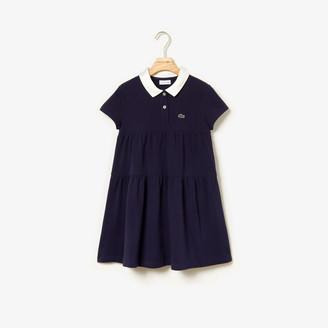Lacoste Girls' Flounced Cotton Pique Polo Dress