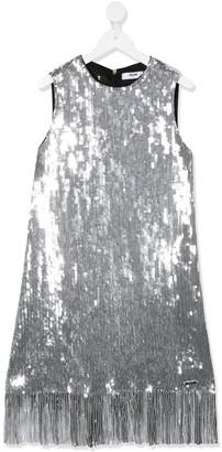 Msgm Kids TEEN sequin frayed dress