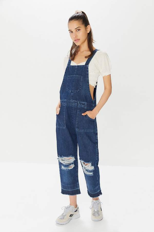 511566098a Distressed Denim Overalls - ShopStyle