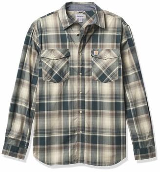Carhartt Men's Petite Rugged Flex Relaxed Fit Lightweight Long-Sleeve Snap-Front Plaid Shirt