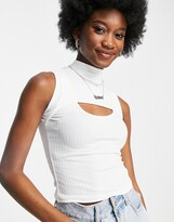 Thumbnail for your product : New Look 2 part cut out top in white