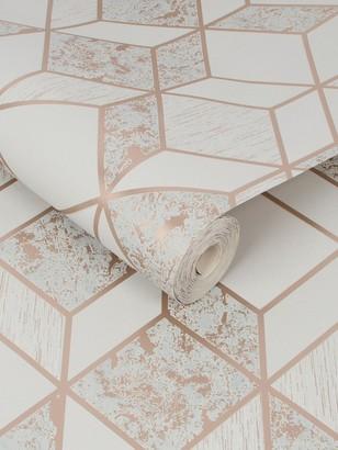 Vittorio Geo Grey/Rose Gold Wallpaper