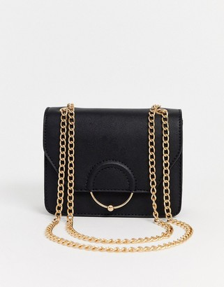 Asos Design DESIGN ring and ball cross body bag with chain strap-Black