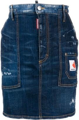 DSQUARED2 Distressed Mini Denim Skirt