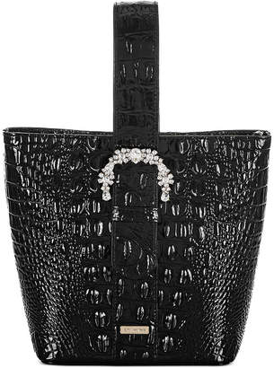 Brahmin Black Melbourne Embossed Leather Luxe Faith Bucket Bag