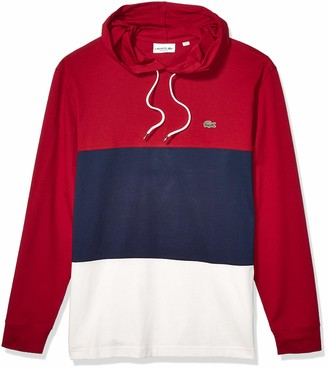 Lacoste Mens Long Sleeve Colorblock Jersey Hooded T-Shirt T-Shirt