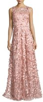 David Meister Sleeveless 3D Floral Tulle Gown, Pink