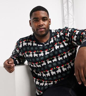 Another Influence Plus llama fairisle Christmas sweater