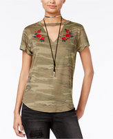 Hybrid Juniors' Embroidered Camo Printed Cutout T-Shirt