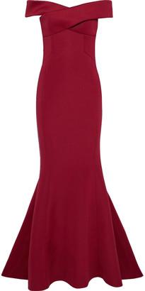 Rachel Gilbert Enico Off-the-shoulder Neoprene Gown