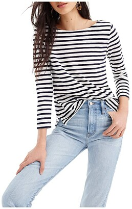 J.Crew Striped Boatneck T-Shirt (Ivory/Navy) Women's Clothing