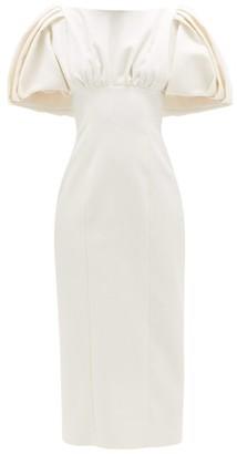 Emilia Wickstead Petunia Puff-sleeve Cloque Midi Dress - Womens - White