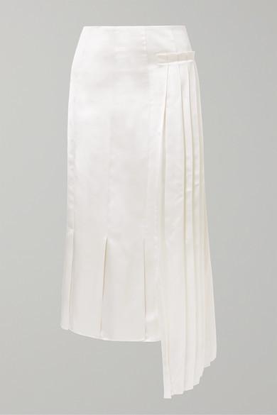 Thumbnail for your product : Marni Pleated Asymmetric Satin Midi Skirt - Ivory