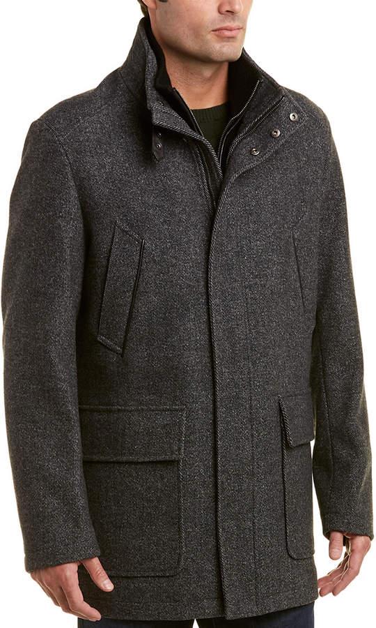Cole Haan Modern Leather-Trim Wool-Blend Twill Jacket