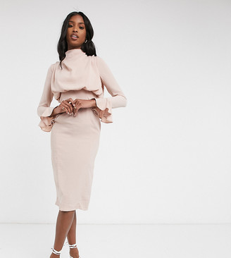 Asos Tall ASOS DESIGN Tall cowl neck fluted sleeve midi dress in rose