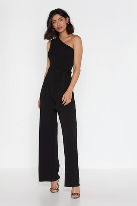 Nasty Gal Womens On the Other Side One Shoulder Belted Jumpsuit - Black - 6