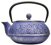 Primula Teapot with Stainless Steel Infuser and Loose Green Tea Packet, 40-Ounce, Blue Floral by