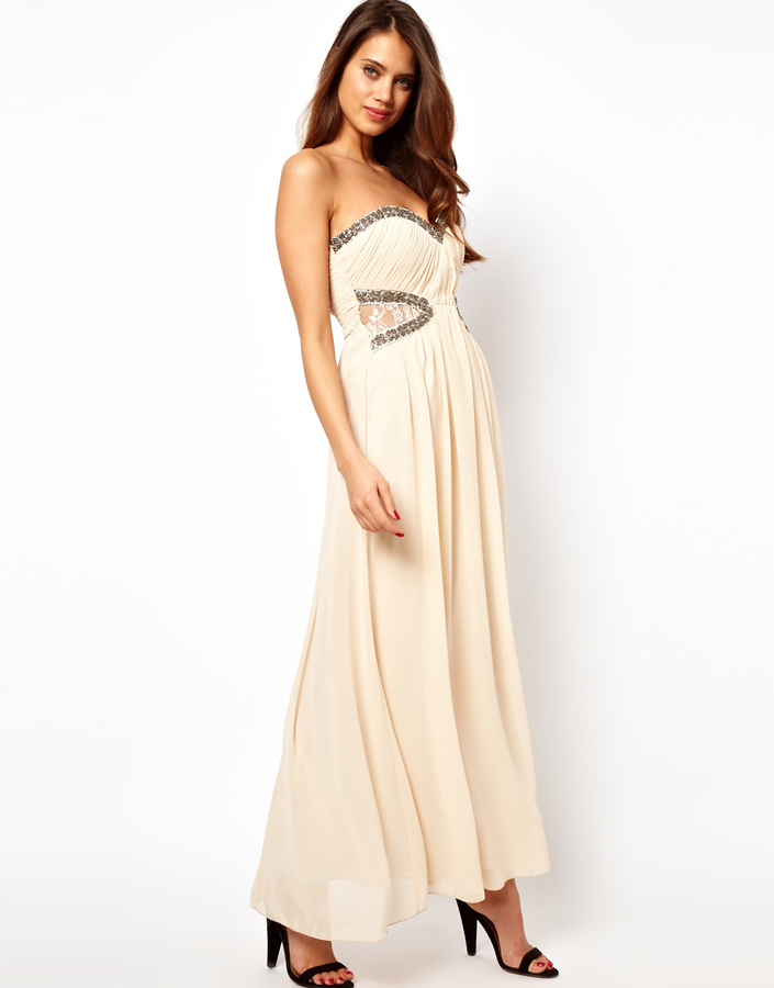Little Mistress Lace Insert Embellished Maxi Dress