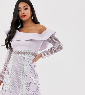 True Decadence Petite exaggerated one shoulder mini dress with contrast lace panels in tonal lilac-Purple