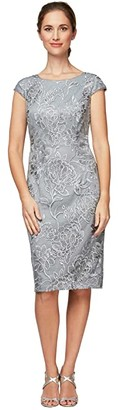 Alex Evenings Short Embroidered Sheath Dress with Cap Sleeves (Silver) Women's Dress