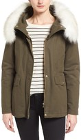 T Tahari Jackie Hooded Removable Faux Fur Trim Anorak