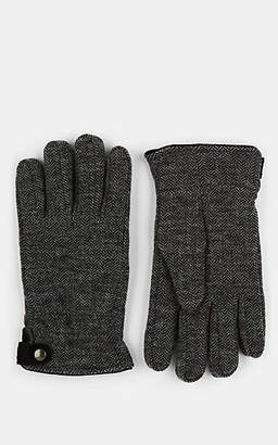 Barneys New York Men's Suede-Trimmed Herringbone Wool Gloves - Gray