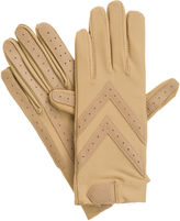 Isotoner Womens Spandex Shortie Gloves with Leather Palm Strips