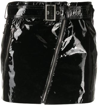 Manokhi Biker patent leather mini skirt