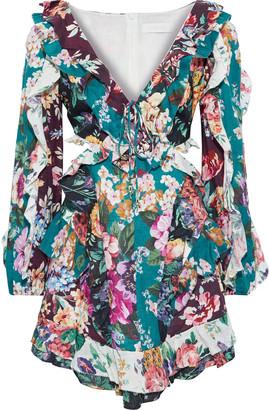 Zimmermann Allia Spliced Cutout Ruffled Floral-print Linen Mini Dress