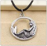 Nobrand No brand Fashion Tibetan Silver Pendant mermaid Necklace Choker Charm Black Leather Cord Handmade Jewlery