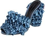 Thumbnail for your product : Marco De Vincenzo Blue Satin Ruffle Mule Sandals Size 37.5