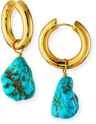 Nest Jewelry Huggie and Turquoise Nugget Drop Earrings