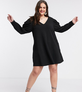 ASOS DESIGN Curve mini swing dress with v neck and pleated sleeve in black