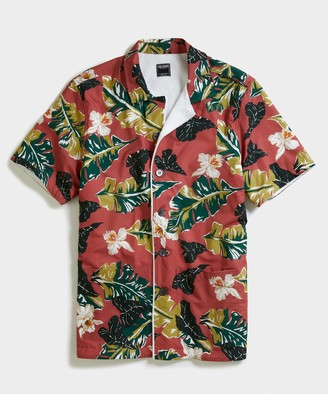 Todd Snyder Terry Lined Bahama Short Sleeve Shirt in Red Floral