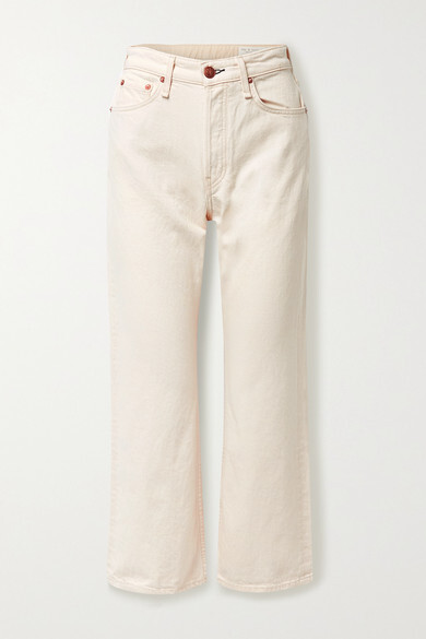 Thumbnail for your product : Rag & Bone + Net Sustain Maya Cropped Organic High-rise Straight-leg Jeans - Ecru