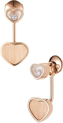 Chopard Happy Hearts 18k Rose Gold Earring Jackets with Diamonds