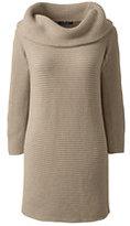 Lands' End Women's Bracelet Sleeve Cotton Tunic Sweater-Deep Sea Marled Stripe