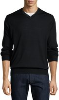 Neiman Marcus Relaxed V-Neck Sweater, Black