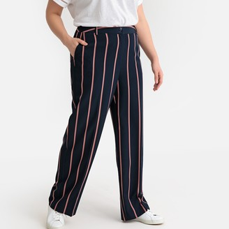 Castaluna Plus Size Striped Wide Leg Trousers, Length 30.5""