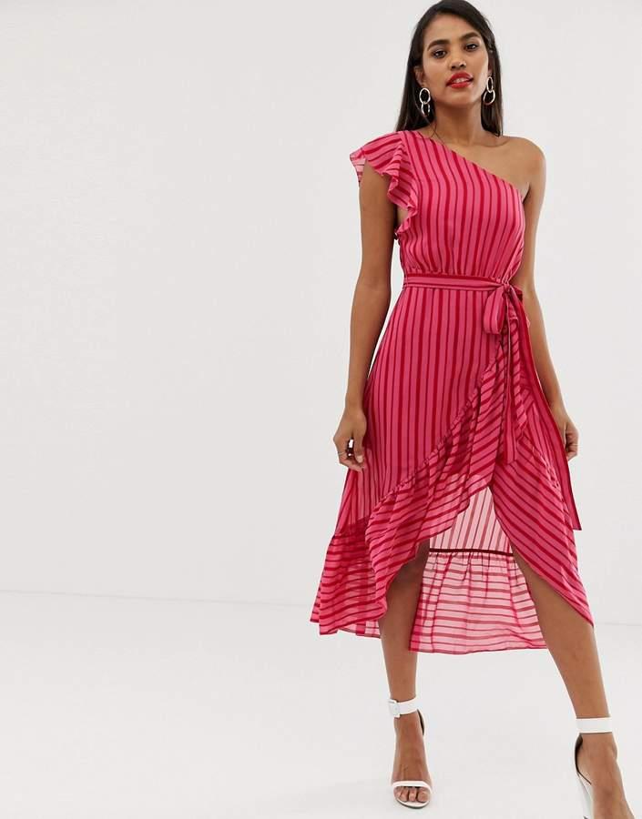 Talulah Candy stripe one shoulder midi dress