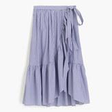 J.Crew Petite ruffle wrap skirt in shirting stripe