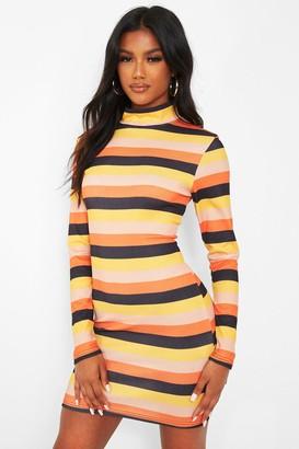 boohoo Rib Roll Neck Stripe Mini Dress