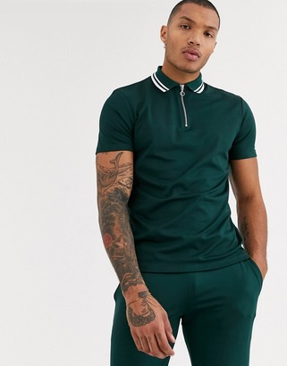 ASOS DESIGN two-piece polo shirt with zip neck in poly tricot in dark green