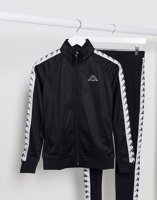 Kappa banda zip though tracksuit jacket in black