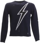 Marc Jacobs Inlayed Blue Wool Destroyed Jumper