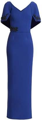Safiyaa Crystal Embellished Cape Column Gown