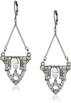 Yochi Silver-Plated Crystal Art Deco Drop Earrings