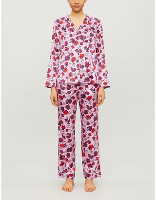 Yolke Floral stretch-silk pyjama set