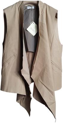 Brunello Cucinelli Beige Leather Knitwear